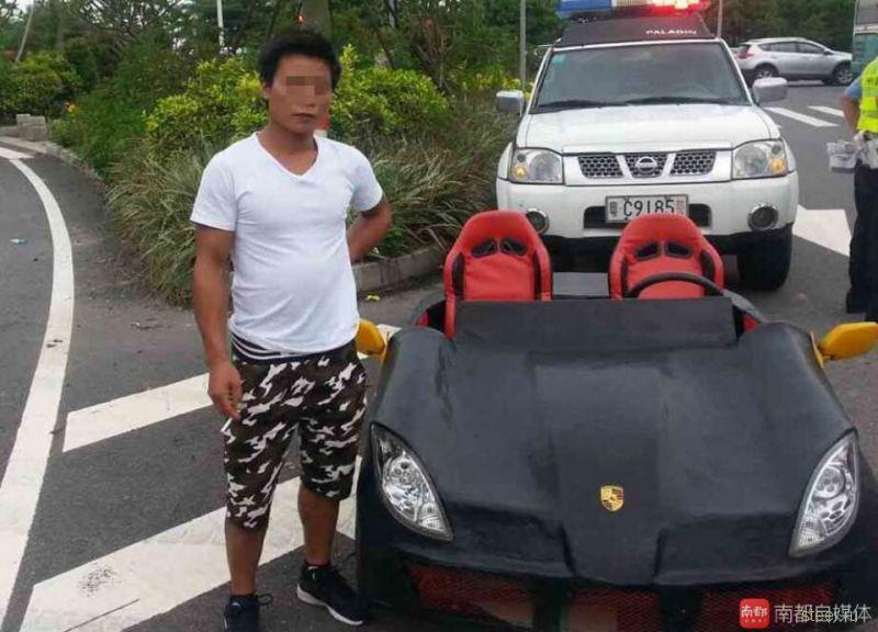 Китайца оштрафовали за езду на самодельном Porsche