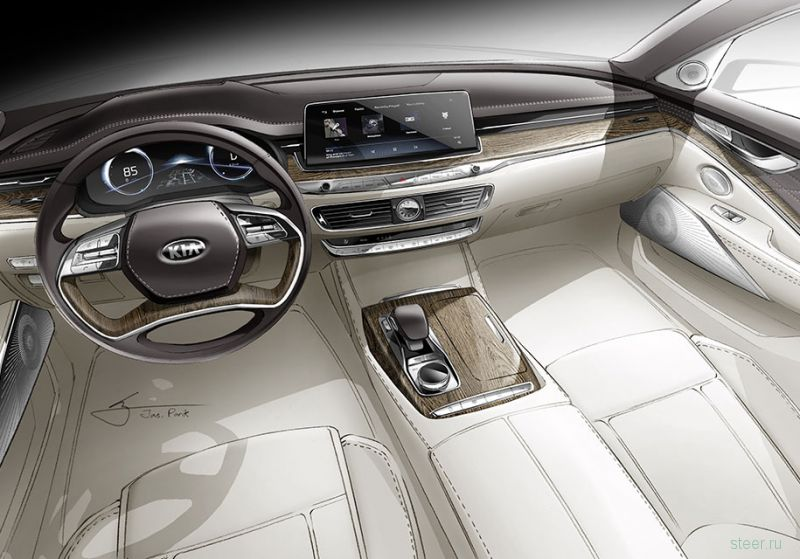 Kia представила интерьер своего самого роскошного седана Quoris