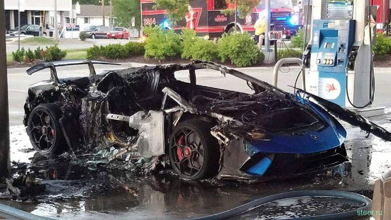 Редкий Lamborghini по глупости сожгли на заправке