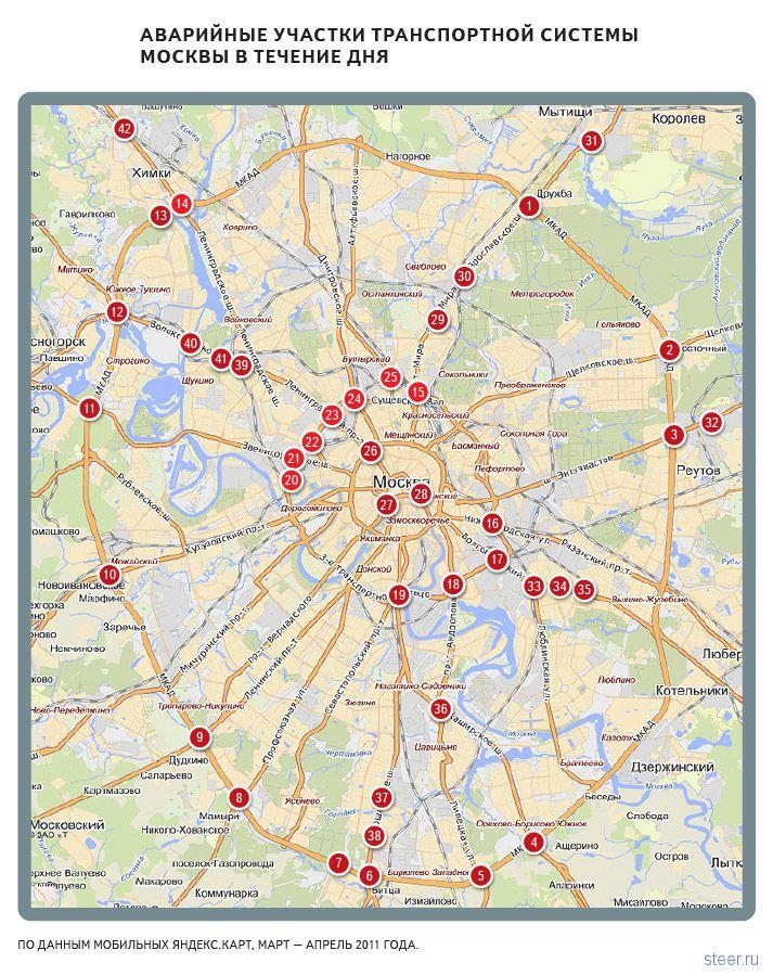 Самые аварийные перекрестки : 42 места в Москве, которые надо объезжать стороной