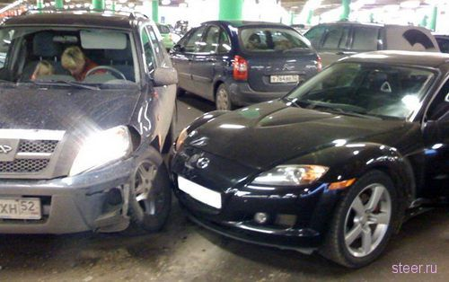 Chery Tiggo и Mazda RX8 : наглядный результат легкого столкновения