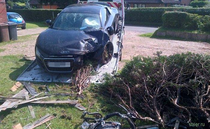 Неожиданная авария Audi R8 в частном секторе (фото)