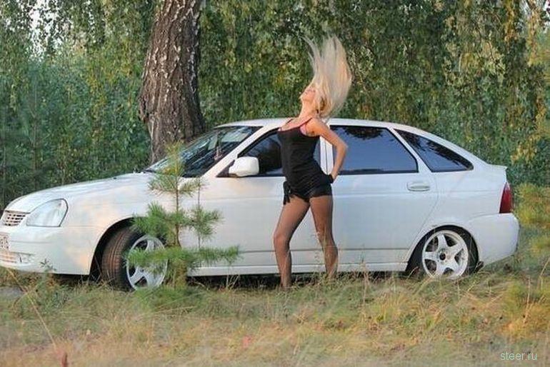 Подборка красивых девушек из России на фоне затюненных российских авто
