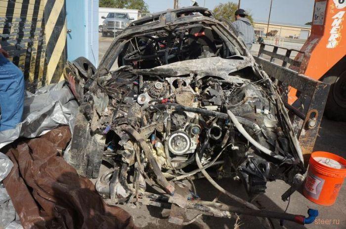 Последствия аварии на скорости 354 км/ч