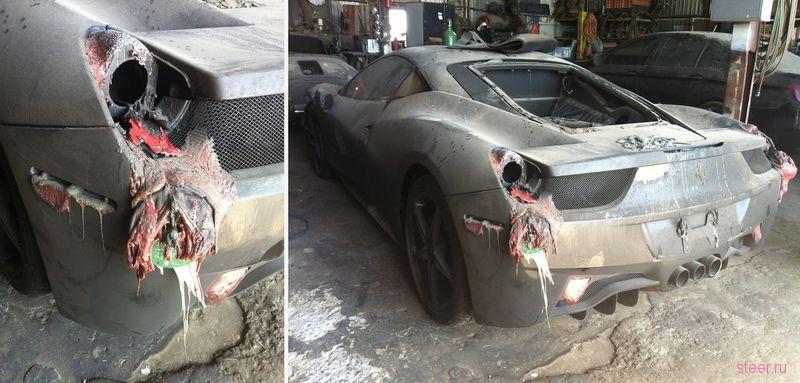 В США сгорел автовоз с суперкарами