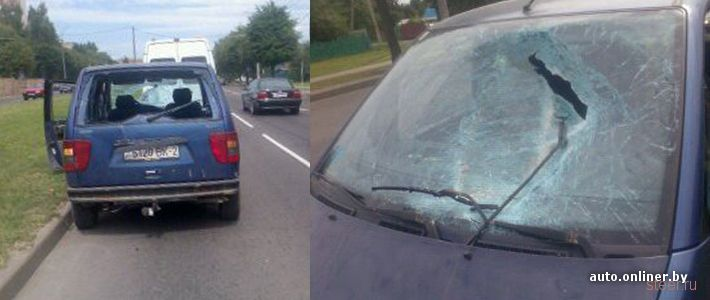 Канализационный люк изуродовал автомобиль