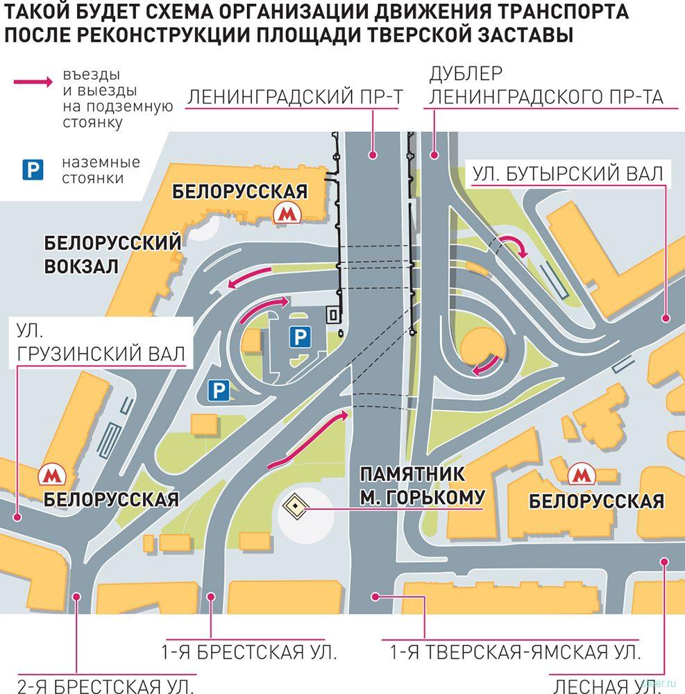 Площадь Белорусского вокзала превратят в многоуровневую дорожную развязку