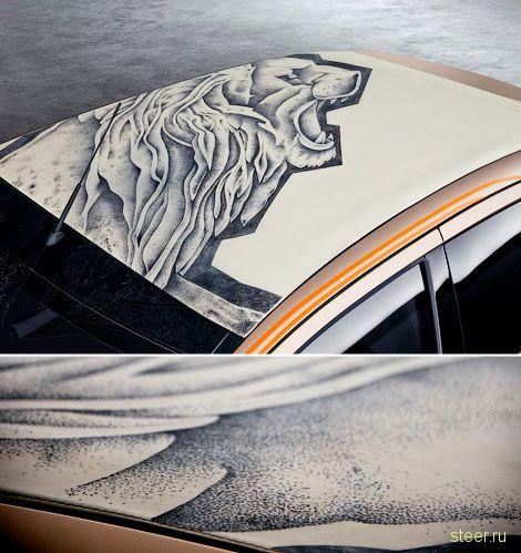 Кузов Peugeot 108 украсили кожей с татуировками