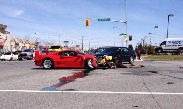 Dodge Dart разнес передок очень редкому суперкару Ferrari F40
