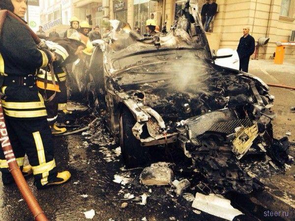 Шикарный Maserati Quattroporte сгорел в Баку