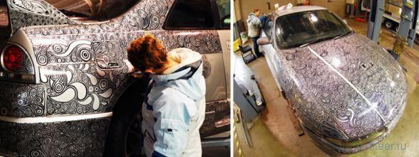 Художница разрисовала маркером автомобиль своего мужа