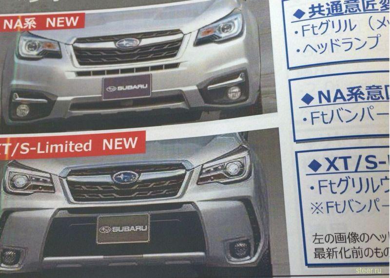 Изображения рестайлинга Subaru Forester