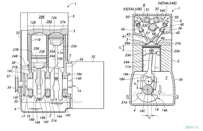 Honda запатентовала революционный двигатель