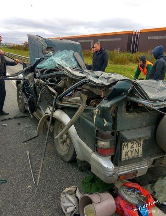 Водитель чудом выжил в приплющенном рекламным щитом автомобиле
