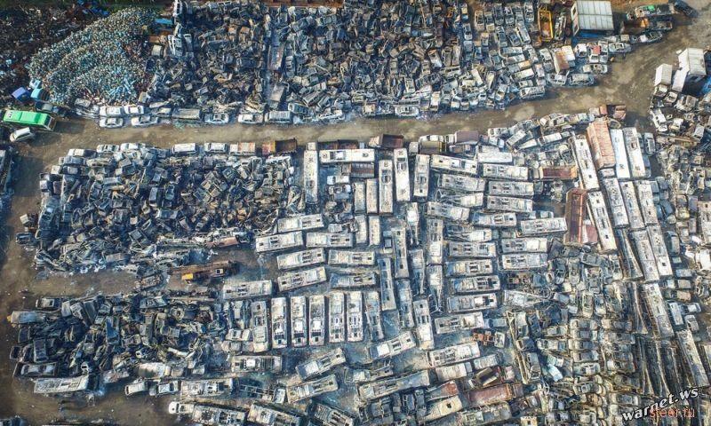 В Китае в результате пожара сгорело более 6000 автомобилей