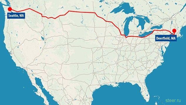 В США водитель грузовика под действием наркотиков проехал без остановки почти 5000 км