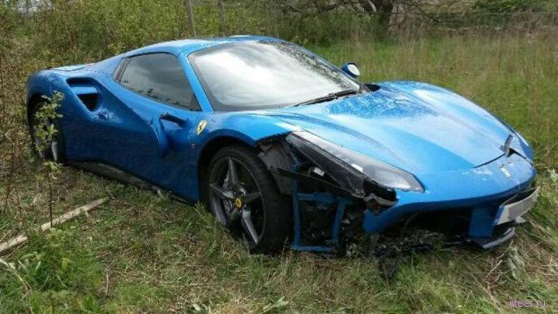 В Великобритании нашли Ferrari 488 GTB, брошенную в поле.