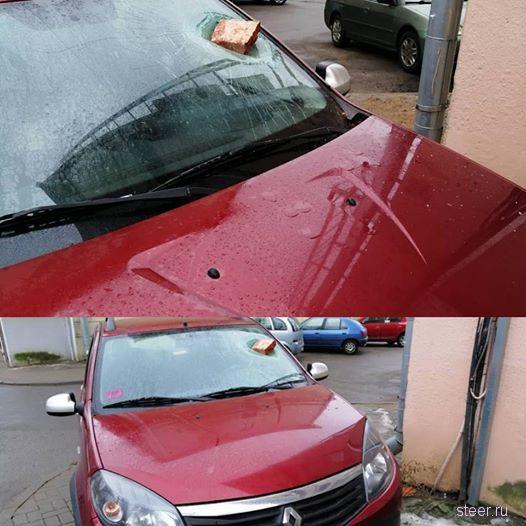В Минске на припаркованный на тротуаре автомобиль упал кирпич