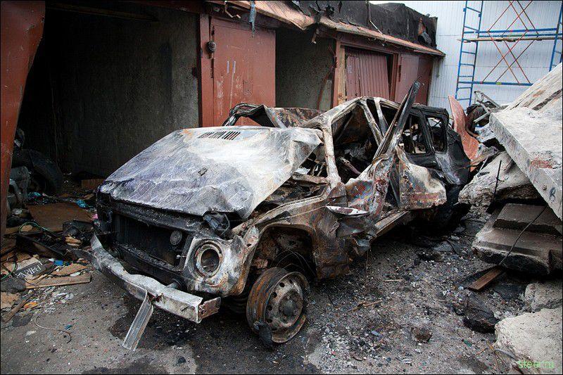 Результат взрыва в гаражном комплексе (фото)