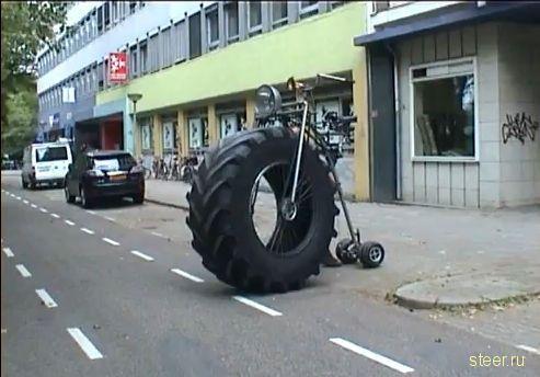 Велосипед с колесом от грузовика-гиганта (фото + видео)